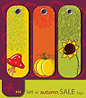 Set Of Retro Sale Nature Autumn Tags With Sunflower, Pumpkin, Fly Agaric