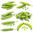 Set Of Ripe Green Pea In The Pod stock photography