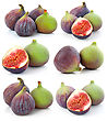 Set Of Ripe Sliced Purple And Green Fig Fruit stock image