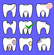 Set Of Rotten Teeth And Healthy Isolated On Blue Background. Dental Treatment. SevereToothache. Filled Tooth. Symbol Of Carre And Health