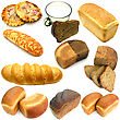 Set Of Ruddy Long Loaf Of Bread With The Fried Crust Is Isolated stock image