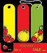 Set Of Sale Vagetables Autumn Tags With Tomatos, Peppers, Pumpkin. Set #10