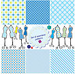Set Of Seamless Checkered Patterns And Mannequins