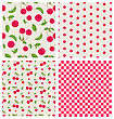 Set Seamless Different Red Cherry Pattern - Vector