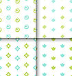 Set Seamless Pattern With Geometric Texture, Colorful Kid Pattern - Vector