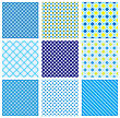 Set Of Seamless Patterns With Fabric Checked Textures