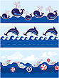 Set Of Seamless Sea Borders With Dolphins, Whales, Paper Ships And Buttons