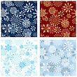 Set Of Seamless Snowflake Patterns In Different Color. Fully Editable EPS 8 Vector Illustration.