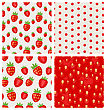 Set Seamless Strawberry Close-up Texture And Berry Pattern - Vector