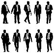Set Silhouette Businessman Man In Suit With Tie On A White Background. Vector Illustration