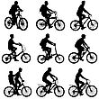 Set Silhouette Of A Cyclist Male And Female. Vector Illustration stock vector