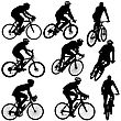 Set Silhouette Of A Cyclist Male And Female. Vector Illustration