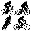 Set Silhouette Of A Cyclist Male And Female. Vector Illustration stock illustration