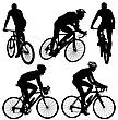 Set Silhouette Of A Cyclist Male. Vector Illustration