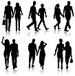 Gender Set Silhouette Man And Woman Walking Hand In Hand stock illustration