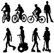 Set Silhouette Of A Cyclist. Vector Illustration