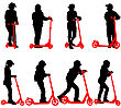 Set Of Silhouettes Of Children Riding On Scooters. Vector Illustration