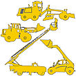 Set Of Silhouettes Of Construction Machinery. Vector Illustration