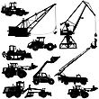 Set Of Silhouettes Construction Machinery. Vector Illustration stock vector
