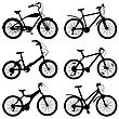 Set Of Silhouettes Of Different Bikes. Vector Illustration