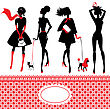 Set Of Silhouettes Of Fashionable Girls