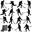 Set Of Silhouettes Of Hockey Player. Isolated On White. Illustrations