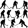 Set Of Silhouettes Of Hockey Player. Isolated On White. Vector Illustrations