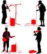 Set Silhouettes Musicians Playing Musical Instruments. Vector Illustration