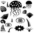 Set Of Silhouettes Of Sea Animals Isolated On White Background stock vector