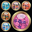 Set Of Six Floral Buttons On Black