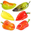 Set Of Six Sweet Fresh Peppers Close-up Studio Photography