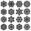 Set Snowflakes Icons On White Background, Vector Illustration stock vector