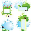 Set Of Summer Backgrounds And Frames With Grass, Flowers And Ladybirds