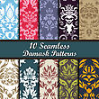 Set Of Ten Damask Seamless Patterns Design