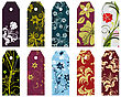 Set Of Ten Vector Floral Bookmark Labels