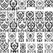 Set Of Thirty Damask Seamless Vector Patterns. Elegant Design In Royal Baroque Style Background Texture. Floral And Swirl Elements. Ideal For Textile Print And Wallpapers. Vector Illustration