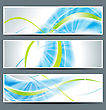 Set Of Three Banners, Abstract Headers With Blue Lines stock illustration