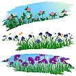 Set Of Three Brushstroke Frames With Flower Meadow Background