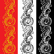 Set Of Three Decorative Vertical Seamless Floral Patterns