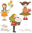 Set Of Three Girls Birthday Party Isolated On White Background, Vector Illustration