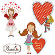 Set Of Three Girls In Love Isolated On White Background, Vector Illustration