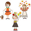 Set Of Three Happy Girls, Isolated On White Background, Vector Illustration