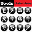 Set Of Tools Glossy Icons. EPS 10 Vector Illustration
