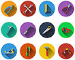 Set Of Tools Icons In Flat Design. EPS 10 Vector Illustration With Transparency