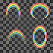 Set Of Transparent Rainbow Icons Isolated On Checkered Background