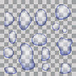 Set Of Transparent Water Drops Isolated On Gray Checkered Background stock illustration