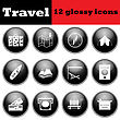 Set Of Travel Glossy Icons. EPS 10 Vector Illustration