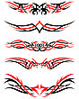 Set Of Tribal Indigenous Tattoos In Black And Red Colors. Elegant Smooth Design Over White Background. Vector Illustration