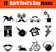Set Of Twelve April Fool's Day Black Icons. Vector Illustration stock vector