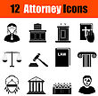 Set Of Twelve Attorney Black Icons. Vector Illustration